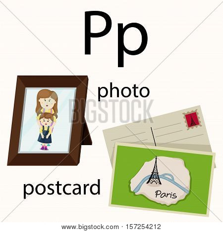 Illustrator of p vocabulary with photo and postcard