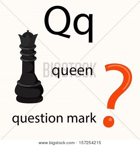 Illustrator of q vocabulary with queen and question mark