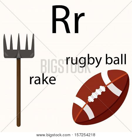 Illustrator of r vocabulary with rake and rugby ball