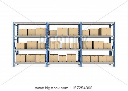 3d rendering of three metal racks put together with beige cardboard boxes of different size stored there, isolated on the white background. Warehousing and storage. Postal services. Packing and crating. Compartments for packages.