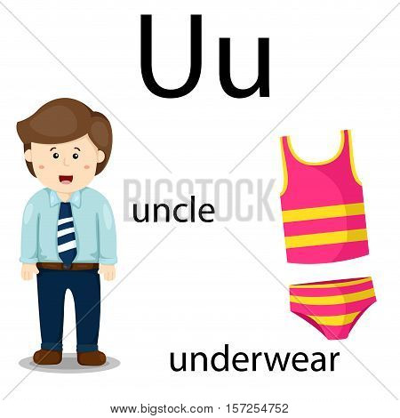 Illustration of u, vocabulary with uncle and underwear