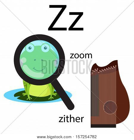 Illustrator of z vocabulary with zoom and zither