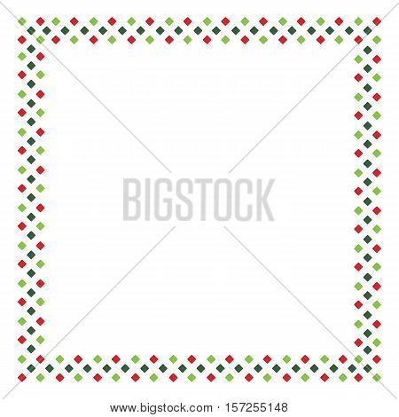 Red and green rhombus pattern frame border in shape of square on white background