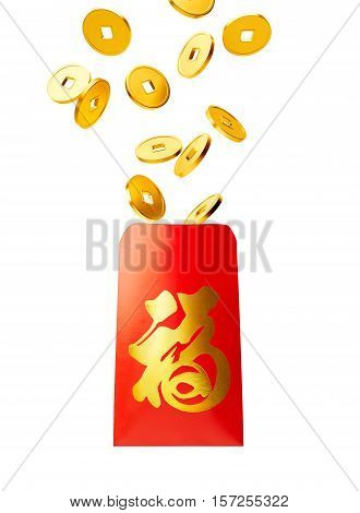 Red packet with gold coins isolated on white Chinese calligraphy