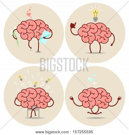 Brain cartoon different characters. Vector isolated set of images