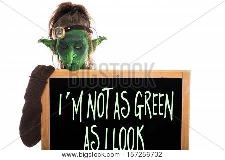 Green Goblin With Slate, Englisch Phrase