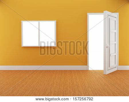 interior with door and window in loft design in 3D illustration. Non brand,sketches.All completely new design