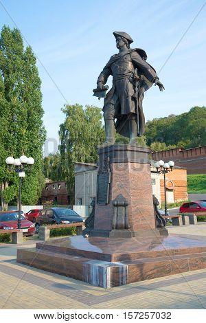 NIZHNY NOVGOROD, RUSSIA - AUGUST 27, 2015: Monument to the russian emperor Peter I on the August evening. Nizhny Novgorod
