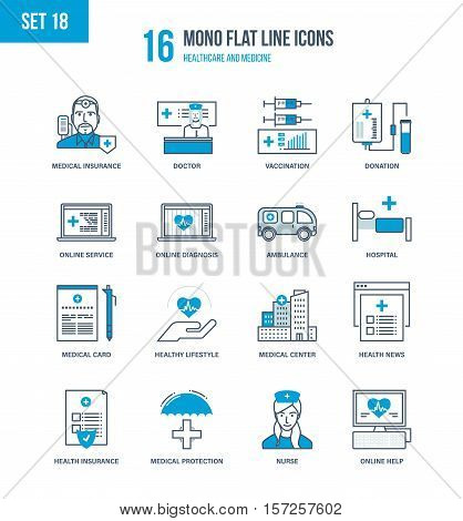 Mono Flat Line icons set of healthcare and medicine, medical and health insurance, education, research, medical hospital and laboratory, mobile first aid and online diagnosis. Editable Stroke.