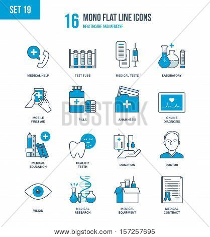 Mono Flat Line icons set of healthcare and medicine, tests, analyzes, advanced education and research, medical tools and equipment, mobile first aid and online diagnosis. Editable Stroke.