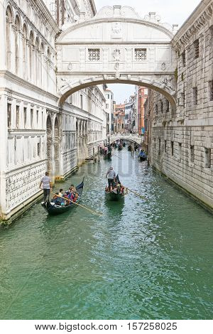 VENICE ITALY - SEPT 20 2016: The Bridge of Sighs was built in 1602 and connected the interrogation rooms in the Doges Palace with the prison cells. Venice September 20 2016