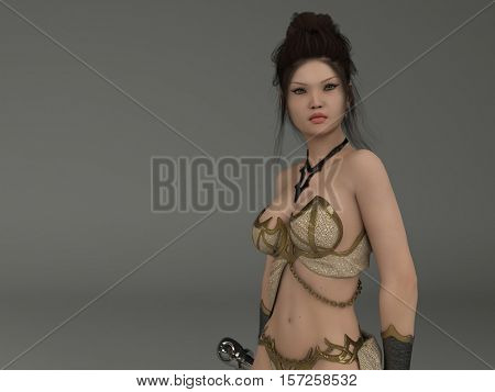 3d illustration of the warrior girl with sword