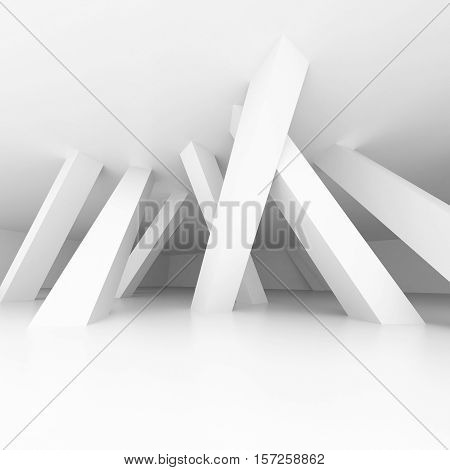 3d illustration. White modern interior of a non-existent room with inclined in different directions supporting columns. Architectural background with space for text. Render.