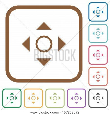 Scroll simple icons in color rounded square frames on white background