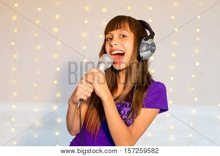 Girl Singing On Karaoke