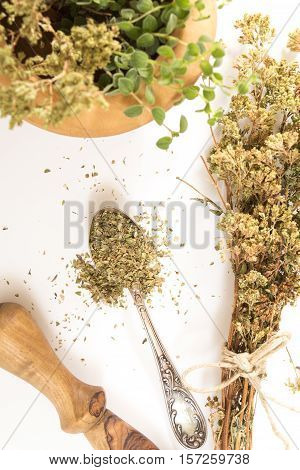 Fresh Dry Oregano On Antique Spoon And Wooden Mortar With Pestle On Withe Background.