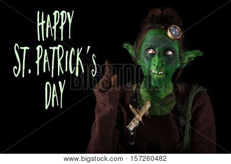Funny Goblin Showing To The Text Happy St. Patrick´s Day