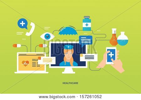 Concept of illustration - health care system, medical aid to the population, first aid, modern health care technology, tools and medicaments for the treatment. Vector illustration.