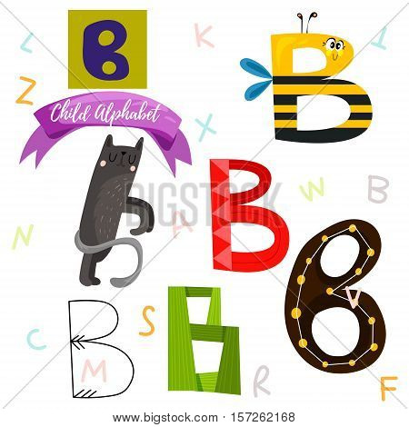 Bright Alphabet Set In Vector.b Letter-stylish 6 Hand Drawn Letters In Different Designs.cartoon Abs