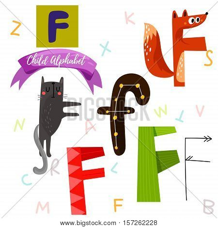 Bright Alphabet Set In Vector.f Letter-stylish 6 Hand Drawn Letters In Different Designs.cartoon Abs