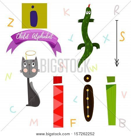 Bright Alphabet Set In Vector.i Letter-stylish 6 Hand Drawn Letters In Different Designs.cartoon Abs
