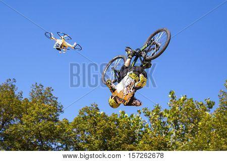 Biker Blue Sky Jump Drone