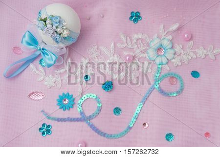 decorative shristmas ball handmade flowers and lace