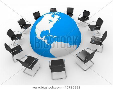 Simboliza la Internet - sala de juntas del mundo, foro, chat y etc.