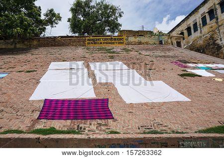 Drying Clothes On Riverbank In Varanasi, India