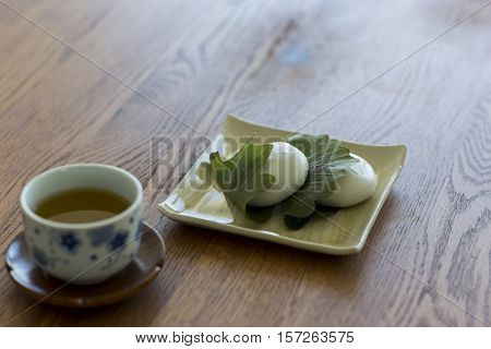 A Japanese sweet and tea