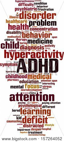 ADHD word cloud concept. Vector illustration on white