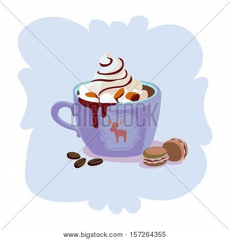 Cute mug and jar with coffe, cacoa, tea, latte. Best for winter advertising, print design, postcard. Winter cute and cozy drinks concept.