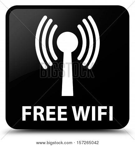Free Wifi (wlan Network) Black Square Button