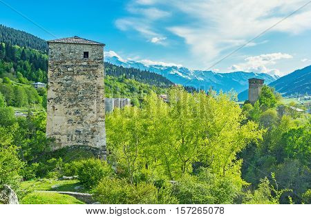 The Upper Svaneti is famous for fantastic mountain landscapes and tall watch towers scattered on the slopes Mestia Georgia.