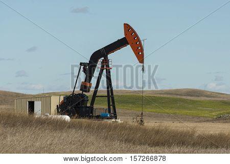 A pumping an oil well in North Dakota