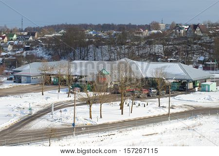 IVANGOROD, RUSSIA - MARCH 02, 2016: The Multilateral transport crossing point on the Russian-Estonian border Ivangorod - Narva March afternoon