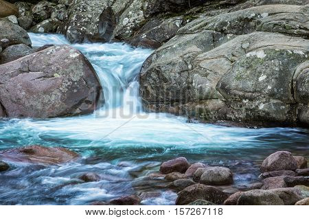 Slow Shutter Photo Of Figarella River At Bonifatu In Corsica