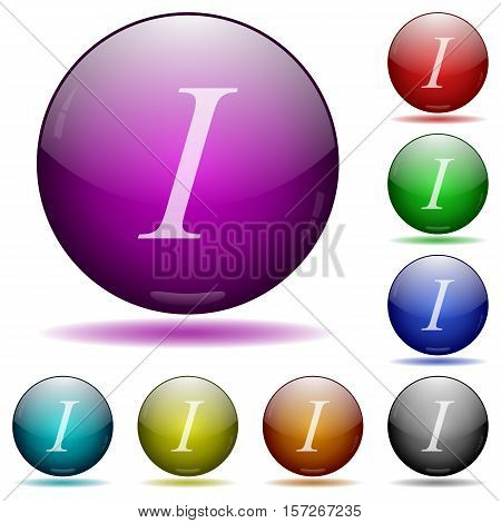 Italic font type color glass sphere buttons with sadows.