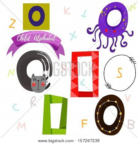 Bright Alphabet Set In Vector.o Letter-stylish 6 Hand Drawn Letters In Different Designs.cartoon Abs