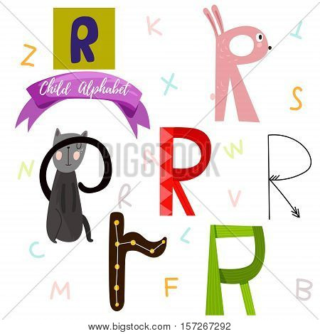 Bright Alphabet Set In Vector.r Letter-stylish 6 Hand Drawn Letters In Different Designs.cartoon Abs