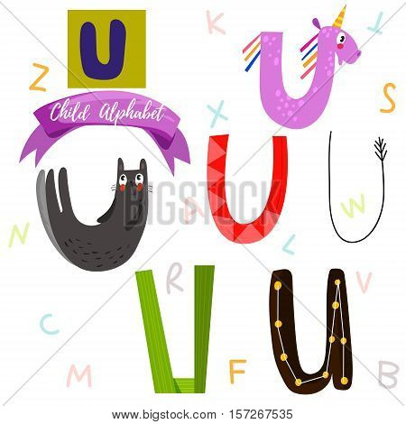 Bright Alphabet Set In Vector.u Letter-stylish 6 Hand Drawn Letters In Different Designs.cartoon Abs