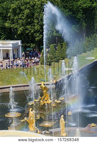 SAINT PETERSBURG, RUSSIA - JULY 03, 2015: View of the fountain