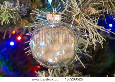 Photo of glass christmas ball and lights