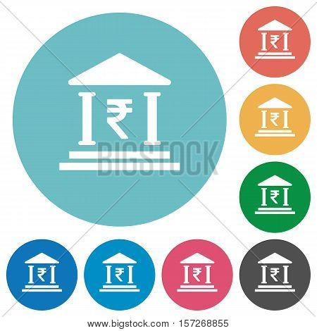 Indian Rupee bank white flat icons on color rounded square backgrounds
