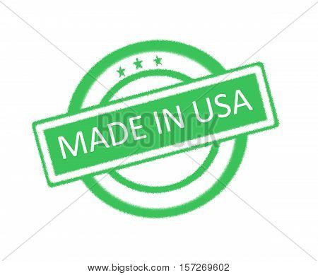 Illustration of made in USA written on green rubber stamp