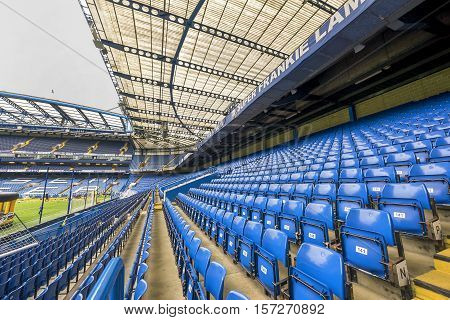 London, the UK - May 2016: At the tribune of Stamford Bridge stadium - the official  playground  of FC Chelsea