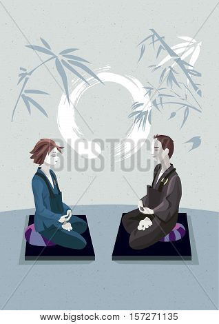 Man and woman sitting in the lotus position in a meditation hall practicing silent meditation. They belong to the tradition of Zen Buddhism. In the background an enso draw.