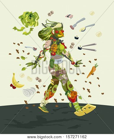 Healthy organic food concept of a smiling female silhouette made with fresh fruits an vegetables. She walks optimistically and decisively.