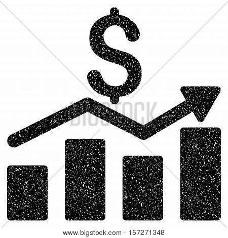 Sales Chart grainy textured icon for overlay watermark stamps. Flat symbol with scratched texture. Dotted vector black ink rubber seal stamp with grunge design on a white background.
