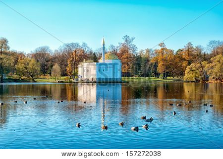 TSARSKOYE SELO, SAINT - PETERSBURG, RUSSIA - OCTOBER 19, 2016: Autumn view of The Turkish Bath Pavilion on the bank of the Great Pond in the Catherine Park. The Tsarskoye Selo is State Museum-Preserve